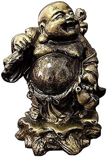 JJDSN Adornos de Estatua de Buda riendo, Figuras de Escultura de Buda Maitreya de Resina de Bronce, estatuas de decoración de jardín Chino Fengshui