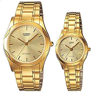 Casio for His and Her - Analog Stainless Steel Watch Set