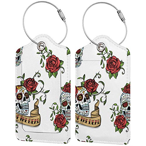 WINCAN Luggage Tag with Privacy Cover,Mexican Sugar Skulls Decorated with Red Roses and Vintage Ribbon with Lettering,Baggage Labels, Suitcase ID Tags for Travel Suitcases Handbags,(2 Pack)