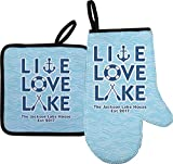 YouCustomizeIt Live Love Lake Right Oven Mitt & Pot Holder Set w/Name or Text