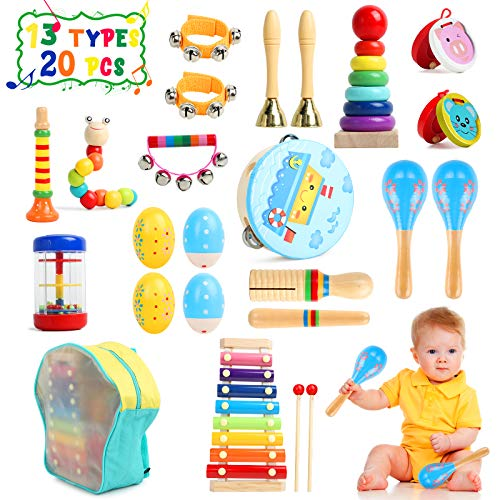 TIKTOK Kids Musical Instruments Baby Musical Toys 13 Types 20pcs Percussion Instruments Toy for Kids Preschool Educational Toys, Musical Toys for Toddlers 1-3 Boys and Girls with Storage Bag
