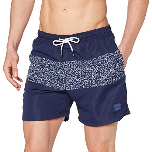 Urban Classics Mid Block Pattern Swim Shorts Baador para Hombre, Darkwater, XL