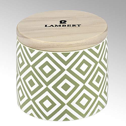 Lambert - Ebba - Duftkerze - Kerze im Keramikgefäß - Celadon - Paraffingemisch/Duftöle/Keramik/Bambus - H: 8cm / Ø 9cm - 1 Stück
