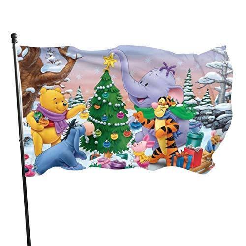 BHGYT Winnie Pooh Flagge mit Ösen für Raumdekor oder Gartendekor Gedruckte Flaggen 3 x 5 Gartenbanner