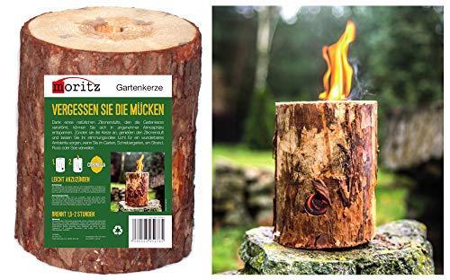 Moritz Schwedenfeuer mit Zitronella Baumfackel inkl. Anzünddocht Finnenfackel Gartenfackel Fackel Holz Partyfackel 1,5-2 Stunden Brenndauer 25cm hoch
