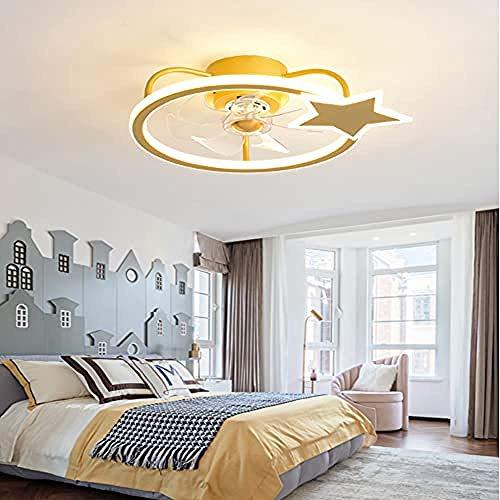 WTTCD 80W Ventilador Moderno Luz Led Lámpara De Techo Inteligente Control Remoto De 3 Velocidades Regulable Para Dormitorio De Niños Mute-Gold