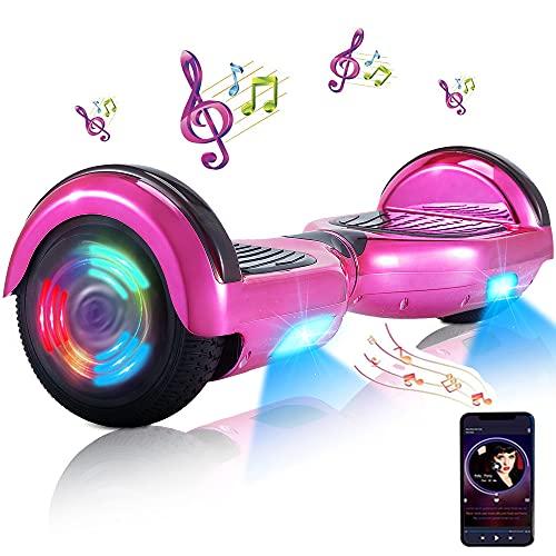 Hoverboard - Hoverboard für Kinder, 6,5-Zoll-Hoverboards mit Zwei Rädern und Bluetooth und Licht für Erwachsene, UL 2272-zertifiziertes Hoverboard für Kinder im Alter von 6 bis 12 Jahren (Rosa)