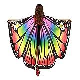SERWOO Chal Alas Mariposa Estolas Duendecillo para Carnaval Mujer Capa de Muchacha Accesorio para Disfraz Playa Fiesta (Multicolor)