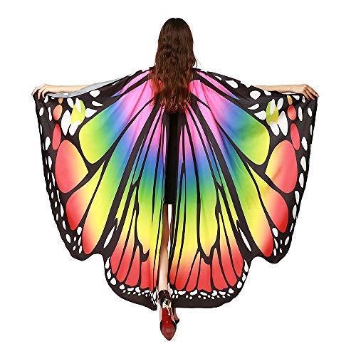 SERWOO Damen Schmetterling Kostüm Schmetterling Schal Flügel Tuch Schmetterlingsflügel Erwachsene Poncho Umhang für Party Weihnachten Kostüm Cosplay Karneval Fasching(168 * 135cm)