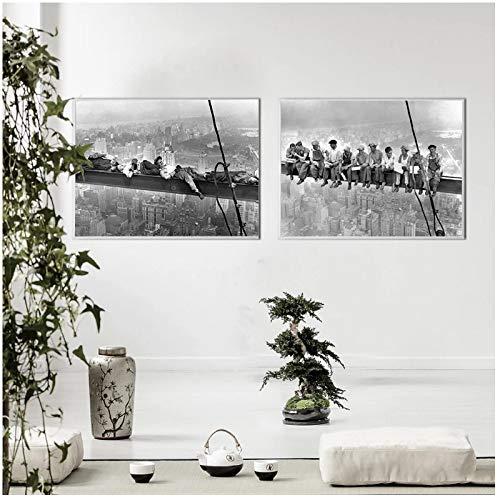 WEUEWQ póster Pintura de Lienzo Vintage Decoración Moderna del hogar Vista de la Ciudad de Nueva York Almuerzo en un Rascacielos Cuadro de Arte de Pared Negro -50x70cmx2 Sin Marco