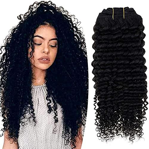 Hetto Extension a Clip Cheveux Naturel Cheveux Humains Crépus Bouclés,Noir Naturel Vrai Cheveux Clip in Double Trame Hair Extensions 18 Poces Clip Human Hair Curly 7 Pièces 100g par Paquet