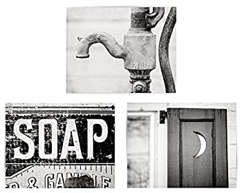 Black and White Bathroom Wall Decor Set of 3 Unframed Art Photo Prints  Not Framed  Pitcher Pump Outhouse Rustic Country Farmhouse Bath Art  3 11x14 Prints Only