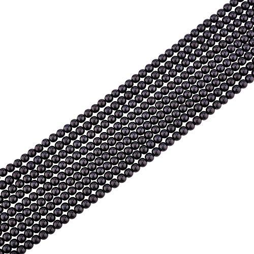 PandaHall Glasperlenperlen, 720 Stück 6mm Umweltgefärbte Runde Perlenperlen Lose Abstandsperlen Für Armband Halskette Schmuck DIY Basteln, Schwarz