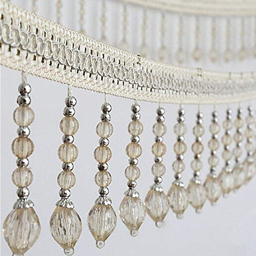 Yalulu 4 Yards Braided Hanging Beads Tassel Trim Fringe Fabric Ribbon Trimming Handwork DIY Craft Sewing Accessory Lace for Home Curtain Table Decoration (White)