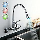 HomeLava Led Wasserhahn Chrom Einhandmischer Wandmontage Küchenarmatur Spültischarmatur mit RGB 3 Farben wechseln Temperaturkontrolle ohne Batterie für Küche Badezimmer