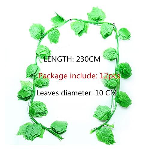 12x grandes 230 cm plantas artificiales enriquecor uva verde hoja hiedra vid vid guirnalda para casa jardín fiesta boda pared decoración de la pared cuerda de ratán ( Color : 12PCS Grapes vine )