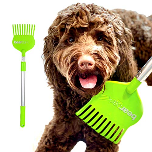 Bearbark Scratcher: Extendable Long Reach Scratching & Grooming Brush/Toy for Dogs/Cats/Horses. Fun, Itch Relief, Grooming, Shedding Control, Reward & Training. Unique Gift for Pet Lovers.