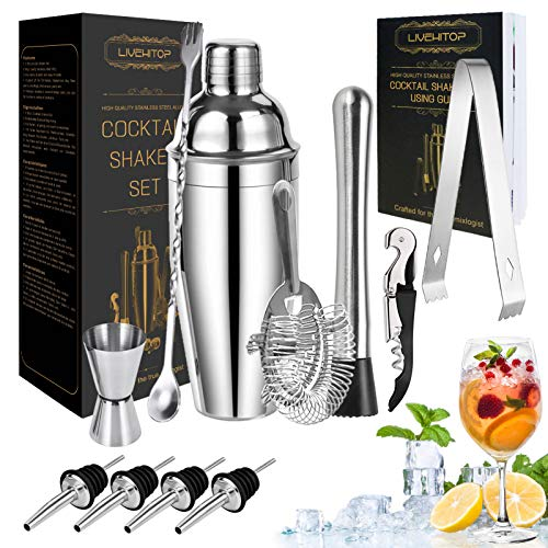 LIVEHITOP Cocktail Shaker Kit, 12 Pezzi Kit Cocktail con 750 ML Shaker Cocktail Kit Professionale per Cocktail Shaker per Bar, Feste, Casa