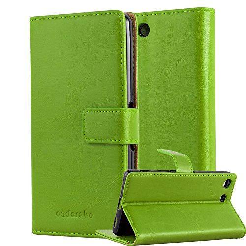 Cadorabo Hülle für Sony Xperia M5 in Gras GRÜN – Handyhülle mit Magnetverschluss, Standfunktion & Kartenfach – Hülle Cover Schutzhülle Etui Tasche Book Klapp Style