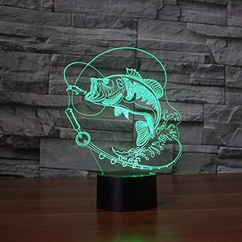 3D Ilusión Luz De Noche Para Pesca, Interruptor Táctil Cambiante De 7 Colores, Carpa, Pez, Animal, De Mesa Visual Para Juguetes Para Niños-Sin Control Remoto