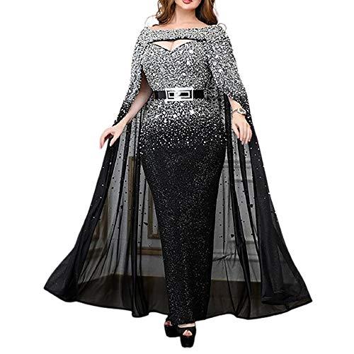 Updayday Damen V-Ausschnitt Meerjungfrau Langarm Gold Applikationen Split Party Prom Kleid Sexy Boden Länge Langarm Elegante Pailletten...