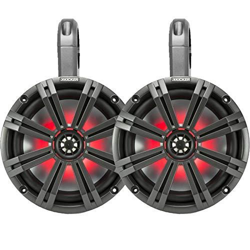 """Kicker PowerSports Black Weatherproof Tower Enclosures 8"""" Charcoal Marine LED OEM Speakers"""