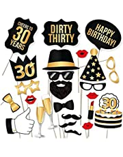 30th Birthday Photo Booth Props - Dirty Thirty Party Decoration Supplies for Him and Her, Funny Thirtieth Bday Photobooth Backdrop Signs for Men and Women, Fabulous Black and Gold Decor - 34 Pieces