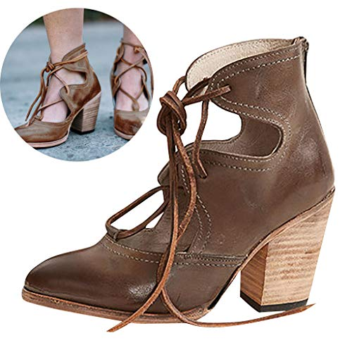 Find Cheap Clearance! Swiusd Women's Lace Up Stiletto Oxford Sandals Retro Wood High Heel Sandals Ti...