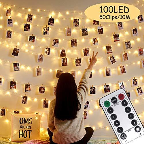 Foto clip Lichterketten, Mikrokleidung 100 LED 10M Kupferdraht-Lichterketten, Fernbedienung, Dekoration für Innen, Schlafzimmer, Hochzeit, Party, Weihnachten (50 Clip & 25 Nägel, warmes Licht)