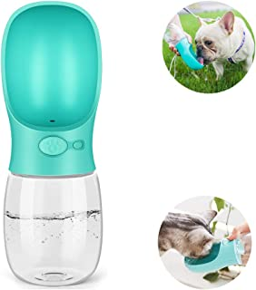 Jacklove Dog Water Bottle for Walking, 12 OZ Portable Pet Outdoor Travel Cup, Food Grade Silicone Dog Drinking Fountain