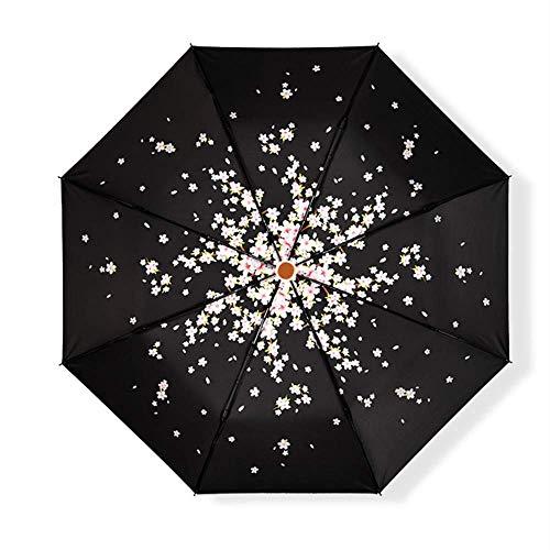 FDSFD Sombrilla Sakura, Mini Paraguas portátil Anti-Ultravioleta, lluvioso, Ligero, Soleado, de Doble Uso para Damas. Paraguas de Viaje Recubierto de Vinilo.