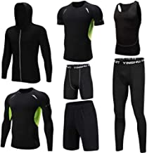 Huangxiaofang Trainingskleidung für Herren Kompressionshose Hosen, 3er-Pack T-Shirt, 2er Pack Shorts Herren 7-TLG für Radfahren Laufen Gym Fitness (Color : Black, Size : L)