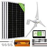 ECO-WORTHY 1000 Watts 24 Volts Kit solar eólico: 400W Aerogenerador + 6 piezas 100W...