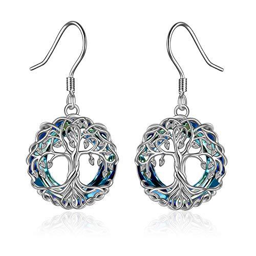 YFN Pendientes colgantes de árbol de la vida para mujer, de plata de ley, con círculo de cristal, nudo celta, regalo para niñas