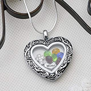 Mimi Necklace - Mimi Gifts - Grandmothers Necklace - Grandma Gifts - Family Tree Necklace - Personalized - 1 2 3 4 5 6 Birthstones - Grandmother Gifts - Nana Gifts - Grandkids - Heart Locket - Cross