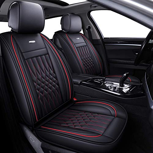 LUCKYMAN CLUB 5 Car Seat Covers Full Set with Waterproof Faux Leather Universal for Sedan SUV Truck...