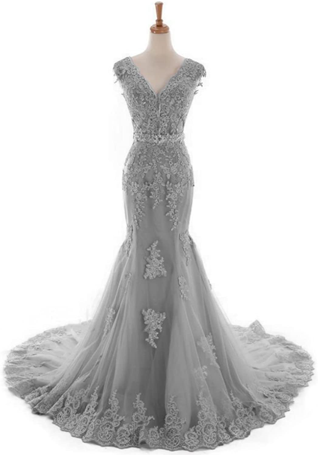QY Bride Gorgeous Lace Mermaid Wedding Reception Prom Dresses for Bride