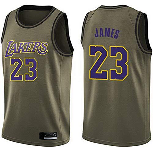 HS-XP Camisetas para Hombre - NBA Los Angeles Lakers # 23 Camisetas de Lebron James - Camisetas de Baloncesto de Malla de Moda Bordadas Chaleco de Baloncesto No 23, Verde Militar, XL (180~185cm)