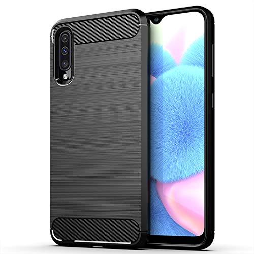 Funda para Samsung Galaxy A30s / A50 / A50s Carcasa Protectora Antigolpes Silicona Negra Diseño Fibra de Carbono Resistente a Choque [Compatible Carga Inalámbrica] (Samsung Galaxy A30s / A50, Negro)