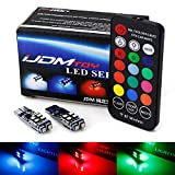 iJDMTOY 10-SMD Multi-Color RGB 168 194 2825 W5W T10 LED Replacement Bulbs w/RF Remote Control Compatible With Car Parking Position Accent Light Upgrade
