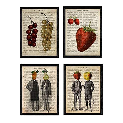 Confezione da quattro poster vintage uomo e frutta con definizioni di frutta e verdura e dieta mediterranea in spagnolo. Formato A4 Poster di alta qualità su carta 250 gr. Nessuna cornice.