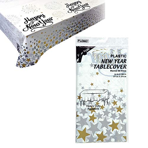 Lowest Price! FLOMO TC795 Happy New Year Motif Disposable Table Cover - Pack of 36