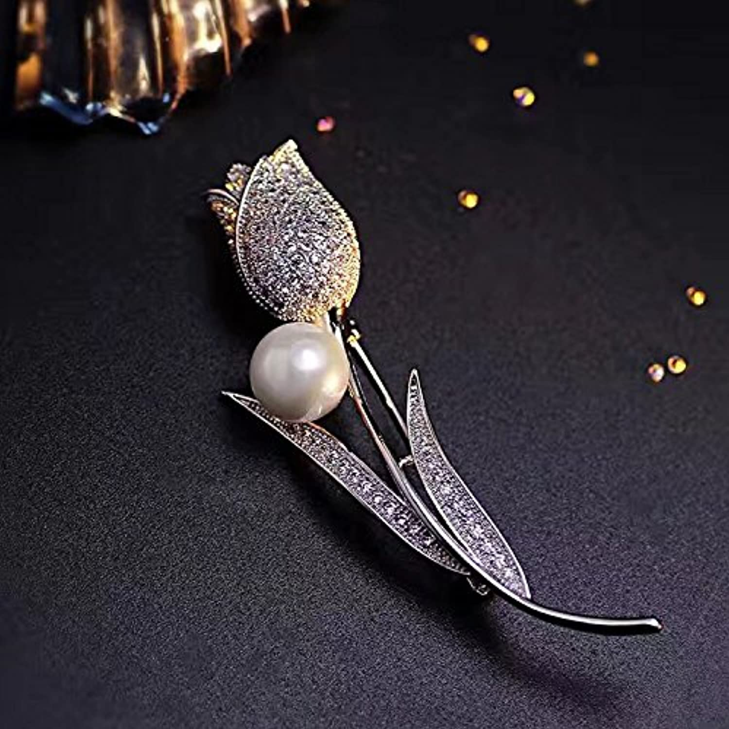 Tulips Daffodils and More Diamond Drilling Micro Pave can not afto not Fade Pearl Brooch pin Badge Accessories