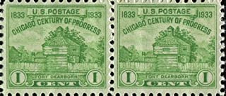 Pair, 1933 US Postage Stamps, Chicago Century of Progress, 1833-1933