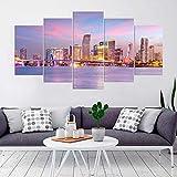 KOPASD Cuadro en Lienzo 200x100 cm Horizonte de Miami City Impresión de 5 Piezas Material Tejido no Tejido Impresión Artística Imagen Gráfica Decoracion de Pared Ciudad