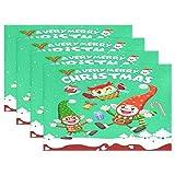 Vintage Christmas Elf Snowman Placemats Xmas Owl Santa Claus Snow Table Mats Antideslizantes, lavables, resistentes al calor, individuales para cocina, comedor, decoración, bandeja, tapete, 12 'x 18',