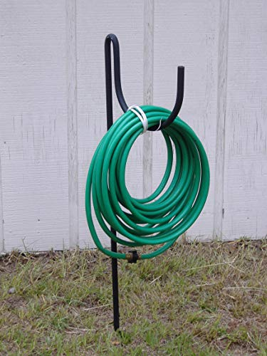 in budget affordable Decorative wrought iron hose holder with black lazy scroll ground mount