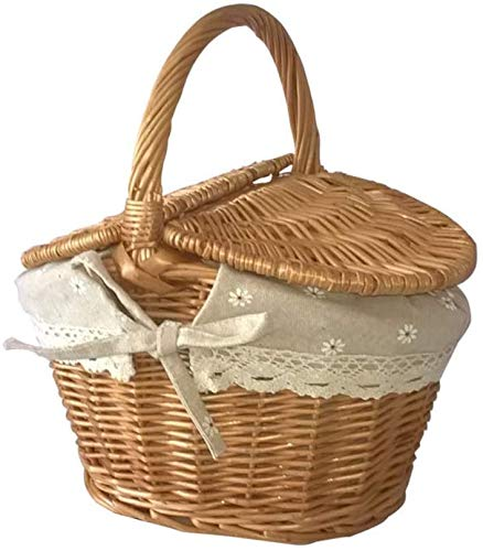 Picnic Baskets with Lid and Handle, Wicker Gift Baskets Empty Oval Willow Woven Picnic Basket Candy Basket Storage Basket Wedding Basket