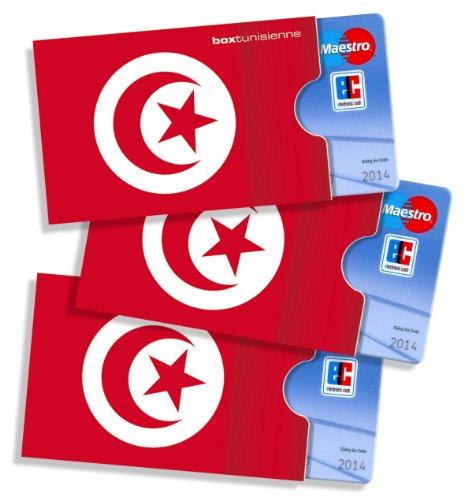 Tunesische Kartenhülle cardbox /// Motiv: Tunesien Flagge/Tunesische Fahne /// 3er Set /// Scheckkartenhülle, Kreditkartenhülle, Bankkartenhülle, Ausweishülle