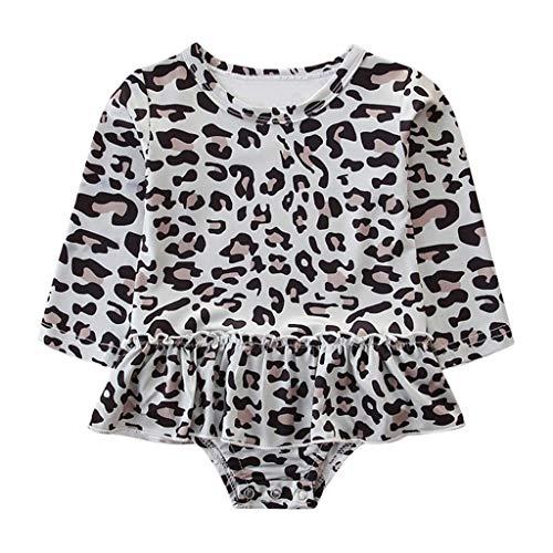 Kobay Neugeborene Baby Mädchen Mädchen Rüschen Leopard Tops Strampler Outfits Kleinkind Langarm Spitze Jumpsuit Kletteranzug (0-24M)
